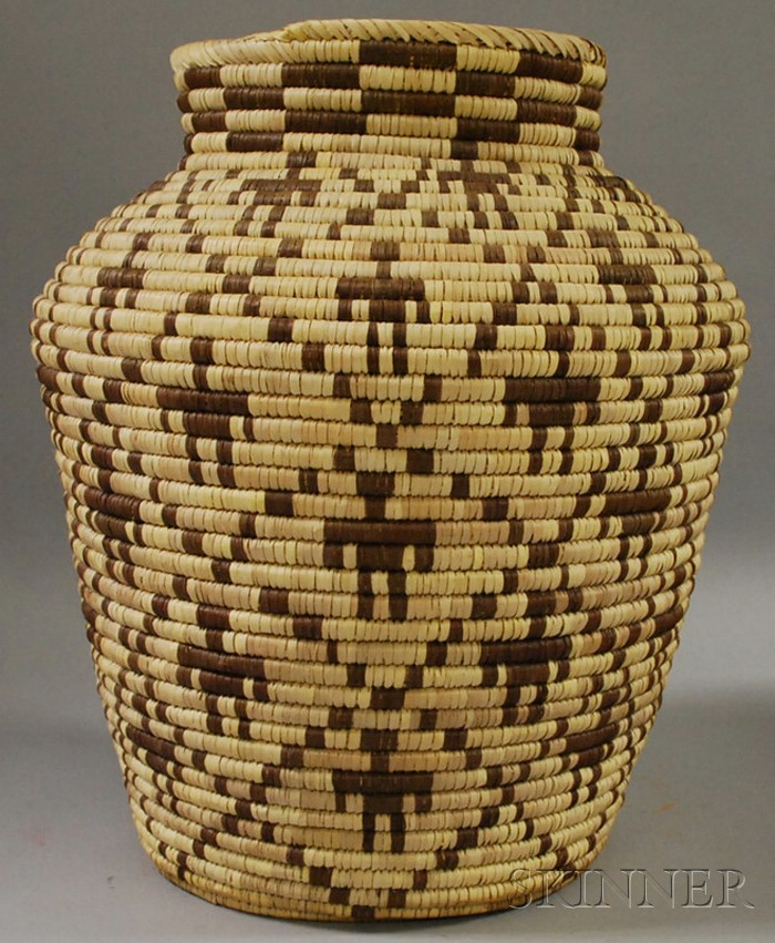 Large Native American Figural Decorated Basket