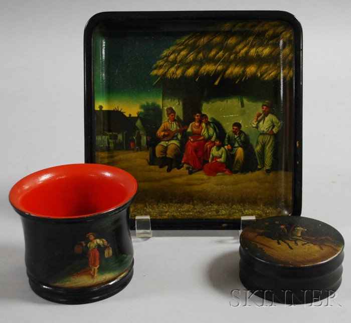 Small Russian Scenic-decorated Lacquerware Tray, Circular Box with Cover, and Jar