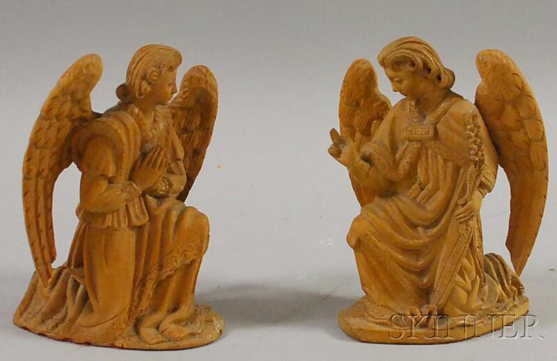 Pair of Carved Wood Angel Figures