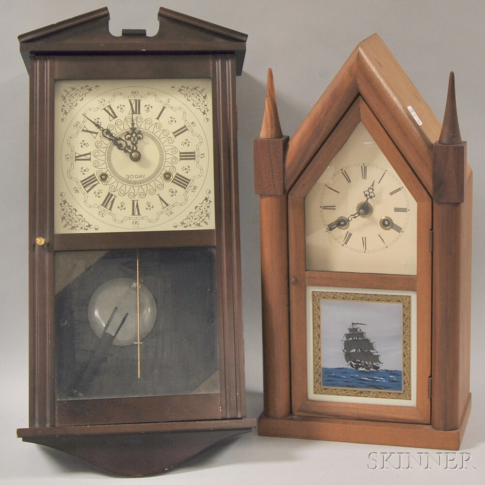 Three Shelf Clocks and Two Wall Clocks