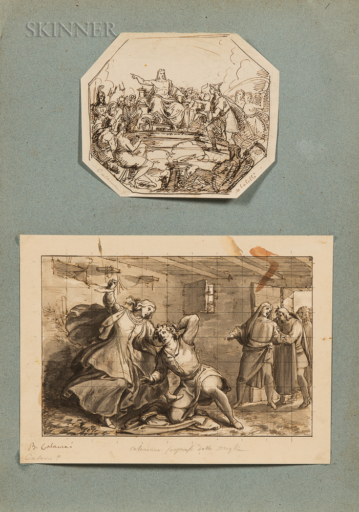 Lot of Two Drawings:      Attributed to Baldassare Calamai (Italian, 1787-1851), Allegorical Scene