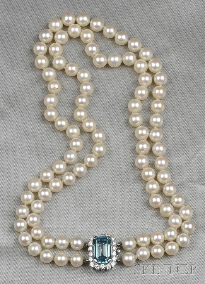 Cultured Pearl, Blue Zircon, and Diamond Double-strand Necklace