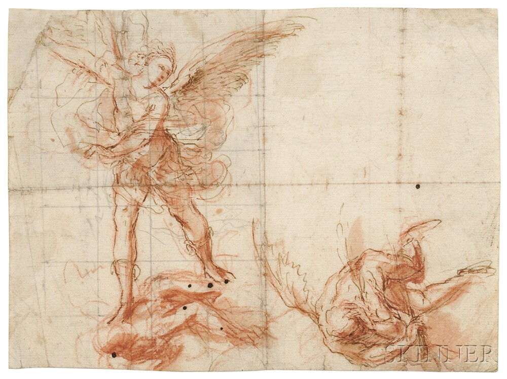 Attributed to Cristoforo Roncalli (Italian, 1552-1626)      Study of Two Angels