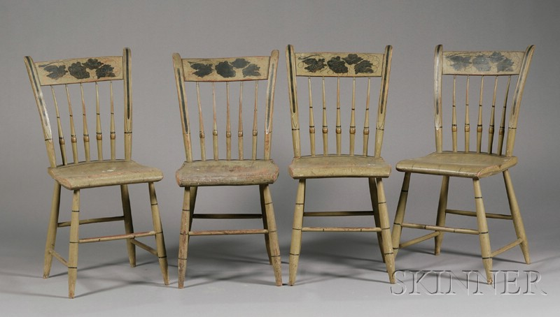 Set of Four Gray-green-painted Stencil-decorated Thumb-back Windsor Side Chairs