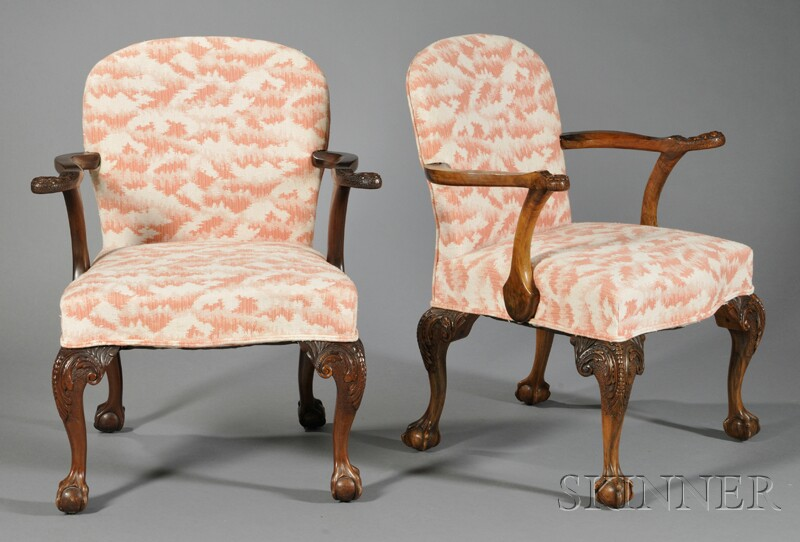 Pair of Georgian-style Carved Armchairs