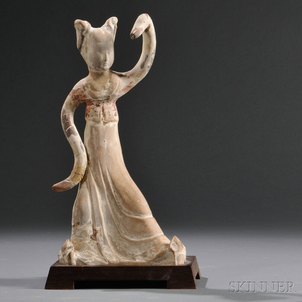 Painted Pottery Figure of a Dancing Lady