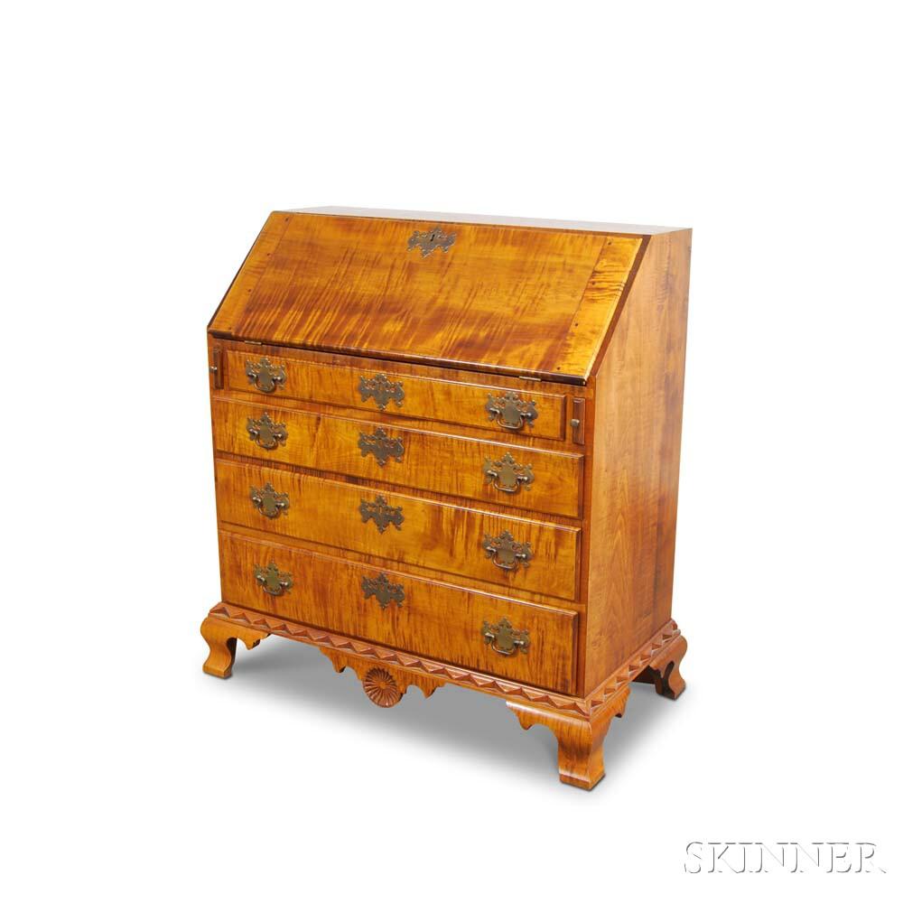 Carved Tiger Maple Slant-lid Desk in the Dunlap Style