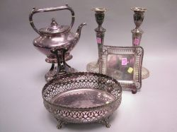 Gorham Electroplate Reticulated Basket, a Dish, Kettle on Stand, and a Pair of Georgian-style Candlesticks.