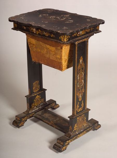 Victorian Mother-of-Pearl Inlaid and Painted Papier Mache Work Table