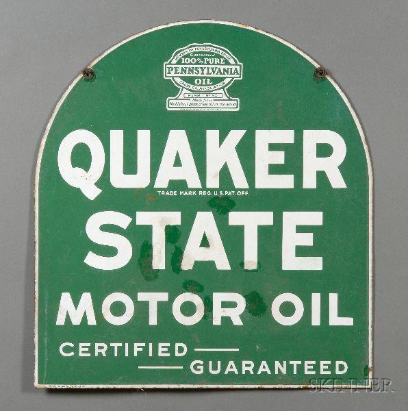 Quaker State Motor Oil Enameled Metal Sign.