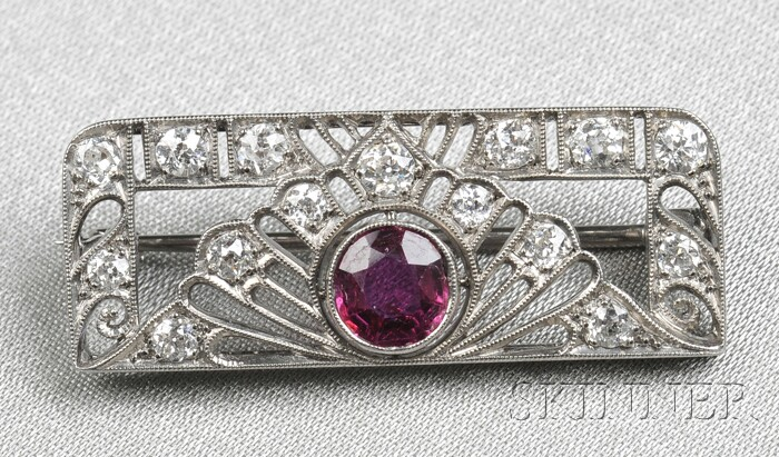 Art Deco 18kt White Gold, Ruby, and Diamond Brooch