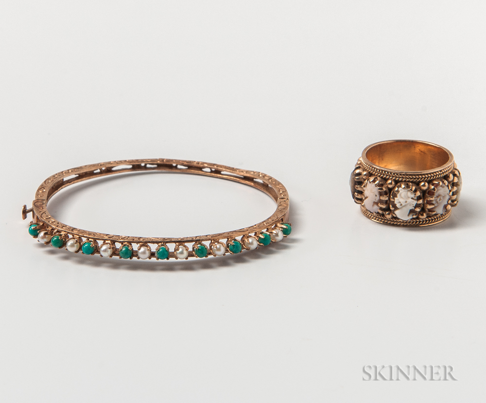 14kt Gold and Cameo Ring and a 14kt Gold, Pearl, and Turquoise Hinged Bangle