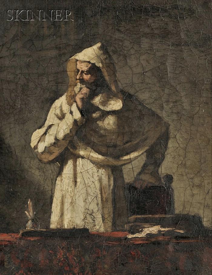 Elihu Vedder  (American, 1836-1923)      Portrait of a Contemplative Monk