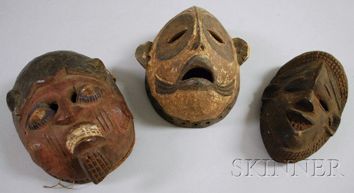 Three Ibo Carved Wooden Masks