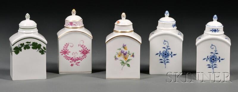 Five Meissen Porcelain Tea Caddies