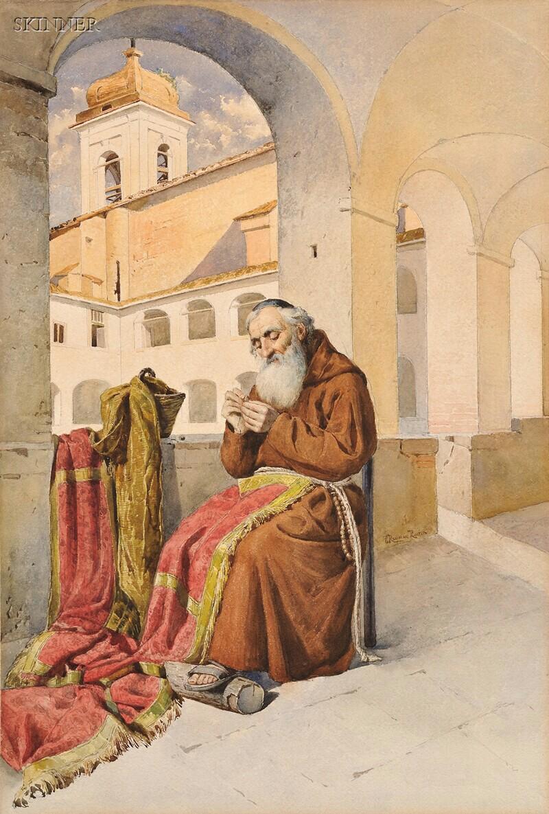Teodora Reyman (Italian, fl. 1887)      View of a Monk Threading a Needle
