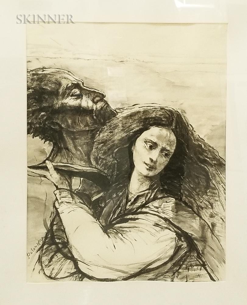 Arthur Polonsky (American, b. 1925)    Portrait of a Woman and a Bust
