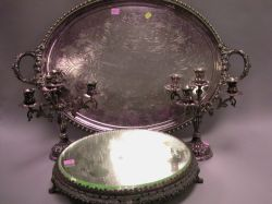 Silver Plated Serving Tray, a Mirrored Plateau, and a Pair of Candelabra.