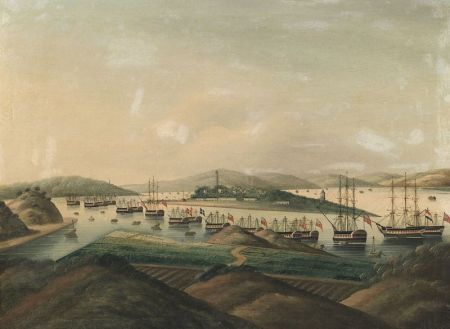 Chinese School, 19th Century  View of Whampoa Anchorage and Island.