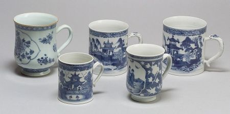 Five Chinese Export Blue and White Decorated Canns