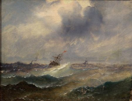 Continental School, 19th Century    Ship on Rough Seas