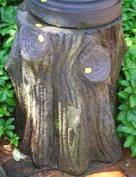 Portland Stone Ware Co. Brown Glazed Stump-form Pedestal