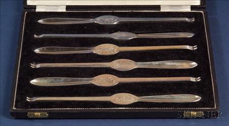 Cased Set of Elizabeth II Silver Lobster Picks