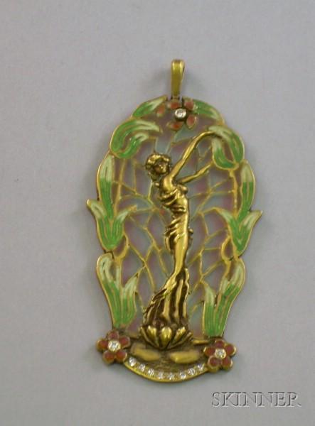 10kt Gold and Enamel Decorated Art Nouveau-style Plique-a-Jour Pendant
