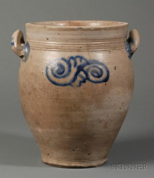 Two-Gallon Cobalt Blue Decorated Stoneware Jar