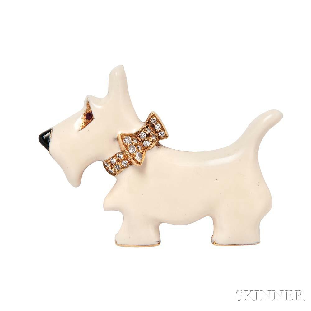18kt Gold, Enamel, and Diamond Scottish Terrier Brooch