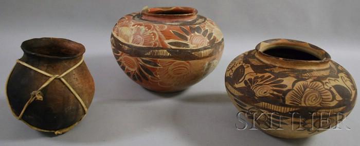 Two Mexican Painted Pots and a Tara Humara Cooking Pot