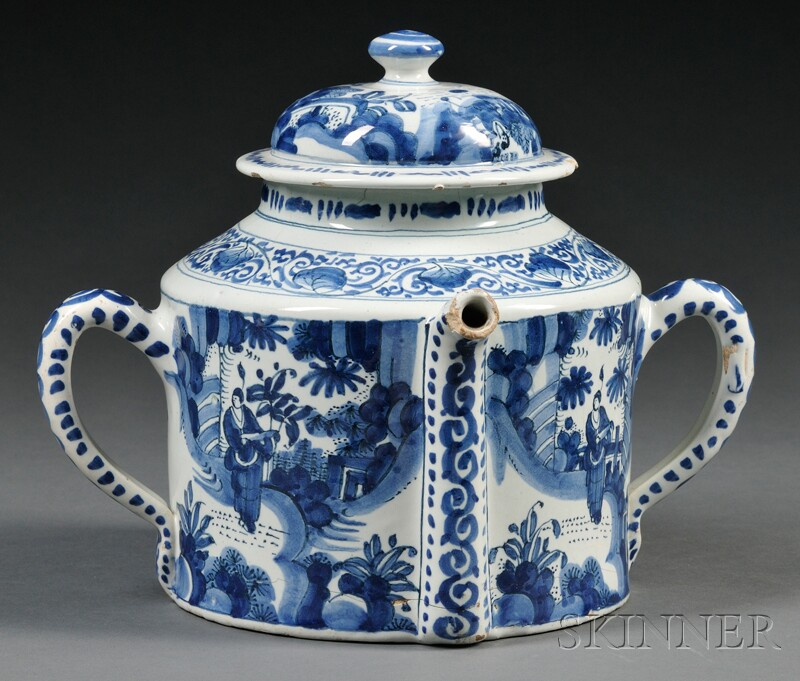 Dutch Delft Blue and White Posset Pot and Cover
