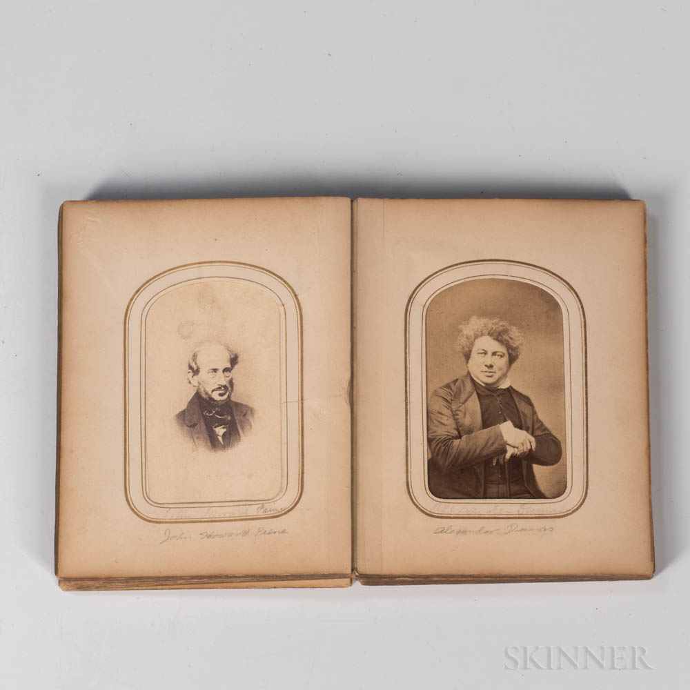 Unbound Photo Album Containing Thirty Identified Albumen Carte-de-Visite Photographs of 19th Century Literary, Stage, Political, and Mi