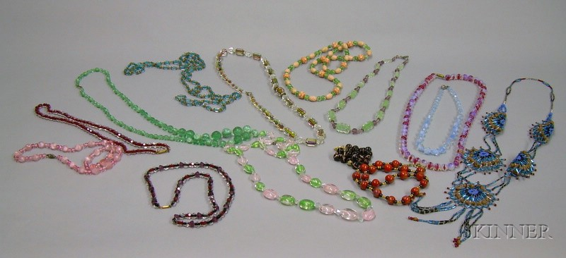 Fourteen Assorted Glass Bead Necklaces.