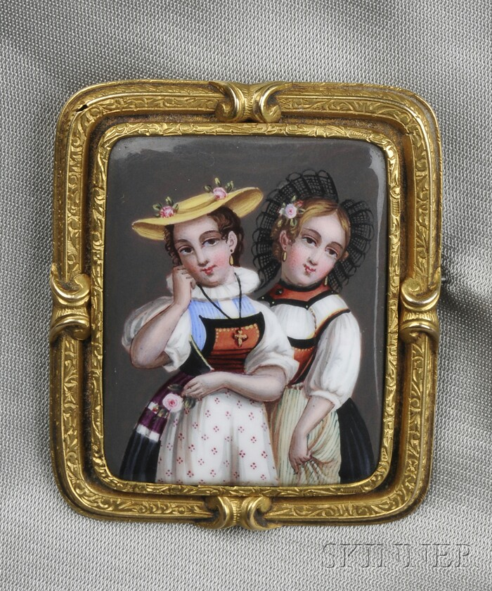 Antique Gold and Swiss Enamel Brooch
