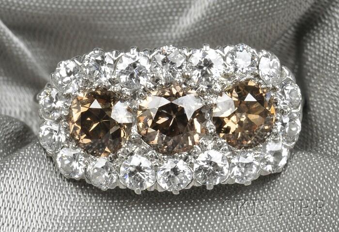 Edwardian Platinum, Cognac Diamond, and Diamond Ring