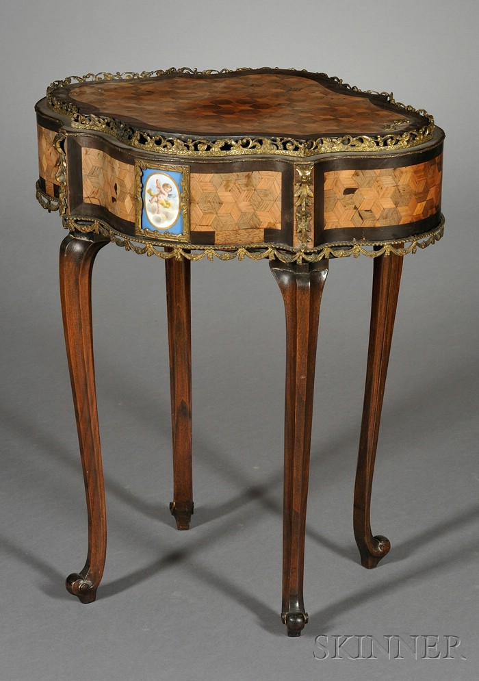 Louis XV/XVI Style Brass and Porcelain Mounted Tulipwood Parquetry Jardiniere Table