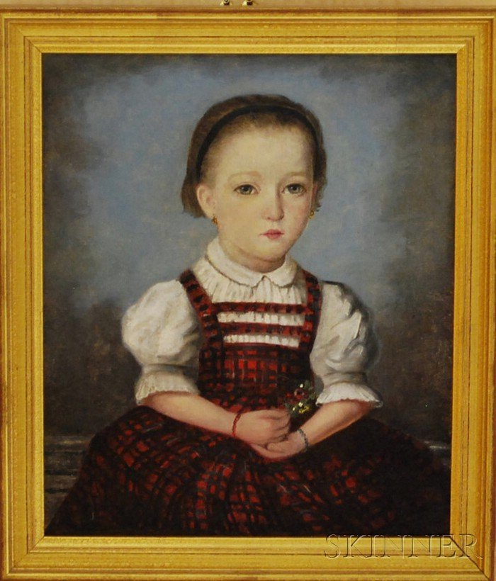 American School, 19th Century      Portrait of a Girl in a Red Plaid Dress Holding a Flower Sprig.