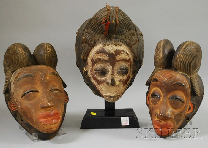 Three Gabon Carved Wooden Masks