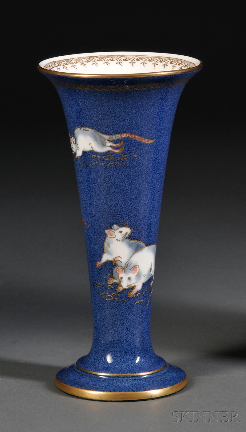 Wedgwood Powder Blue Bone China Vase with Mice