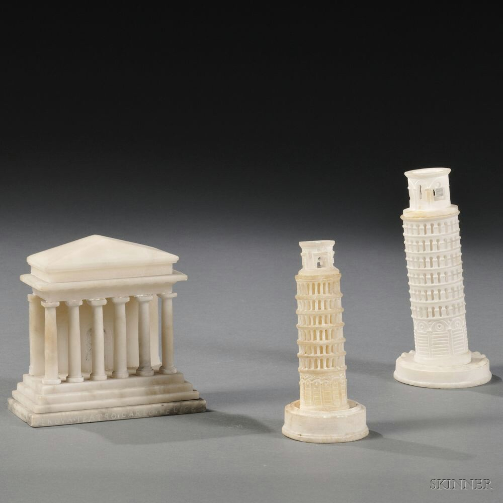 Three Grand Tour Stone Models of Italian Buildings