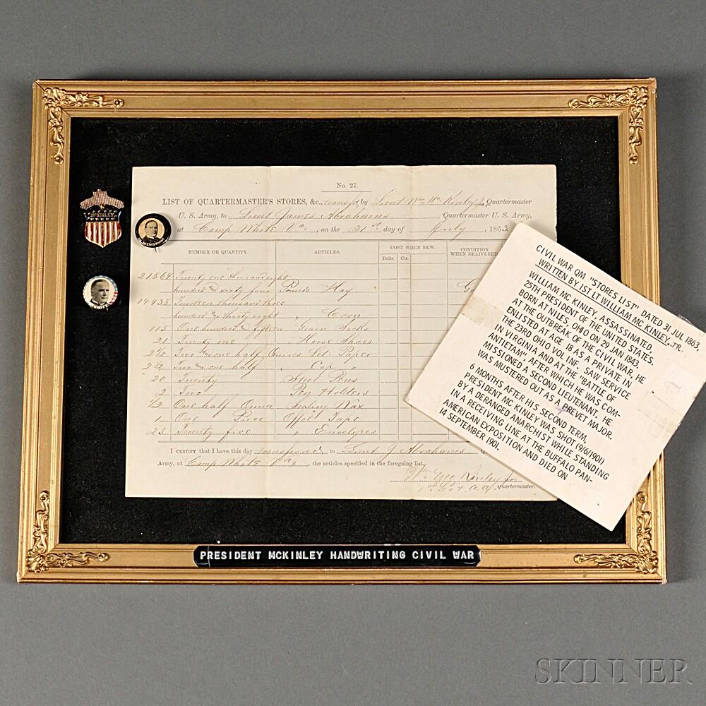 Lieutenant William McKinley Civil War Return and Campaign Buttons