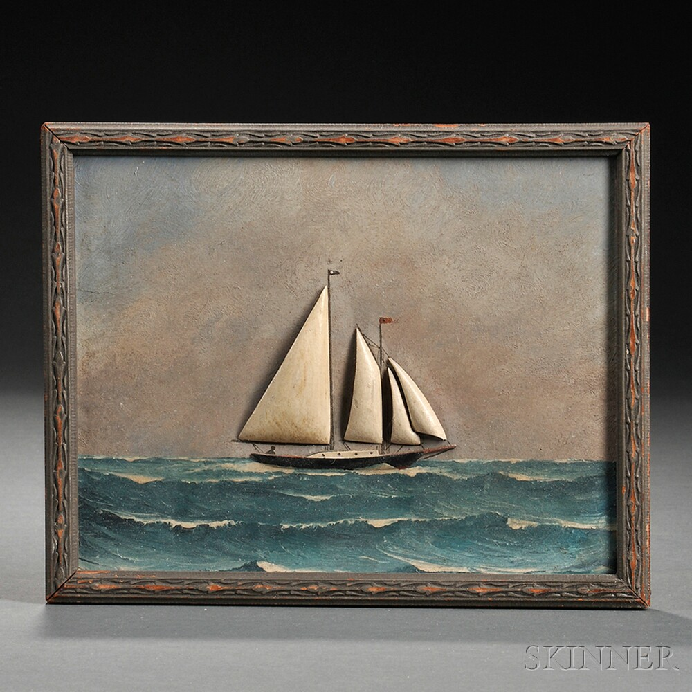 Painted and Carved Wood Diorama of a Sailing Vessel