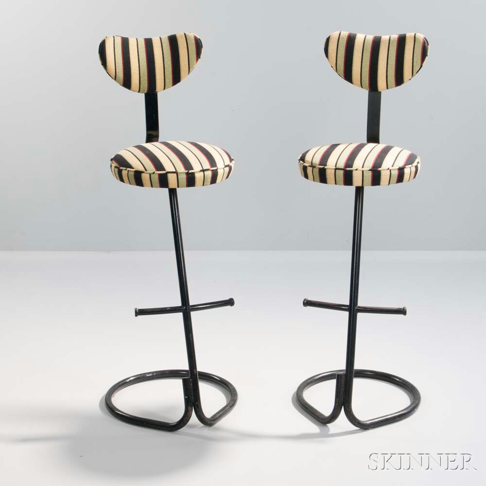 Two Bar Stools with Striped Upholstery
