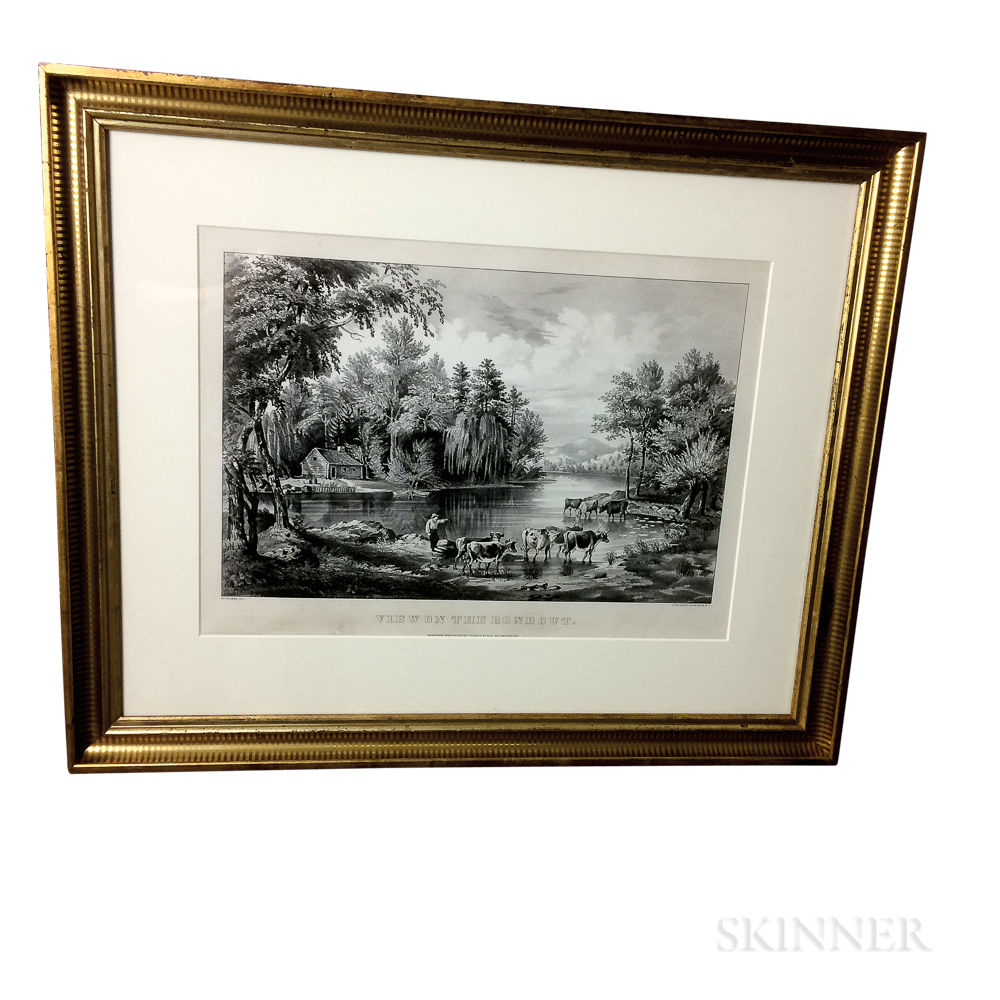 Framed Currier & Ives Lithograph View On The Rondout