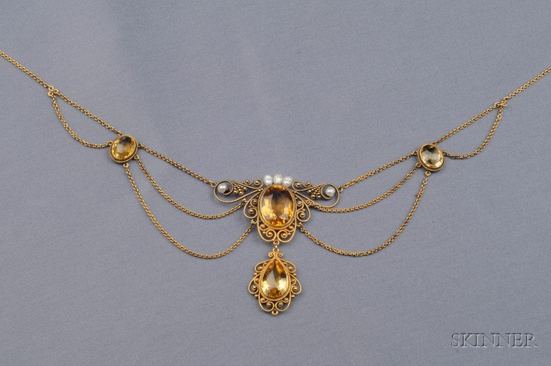 Antique 14kt Gold, Citrine, and Freshwater Pearl Festoon Necklace