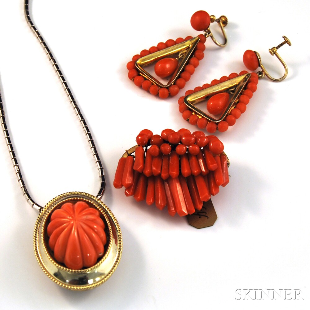Small Group of Coral Jewelry