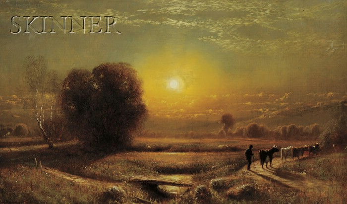 James Fairman  (American, 1826-1904)      Sunset Landscape with Cows and Herder