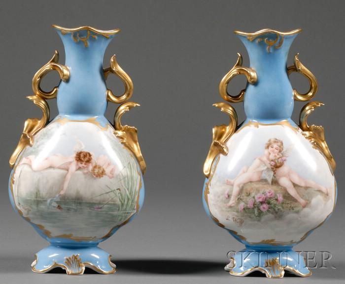 Pair of Paris Porcelain Mantel Vases