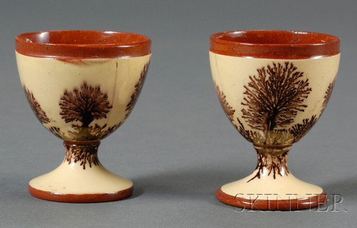 Rare Pair of Mochaware Egg Cups